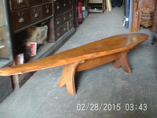 Vintage Fish Shaped Hardwood Coffee Table / Bench