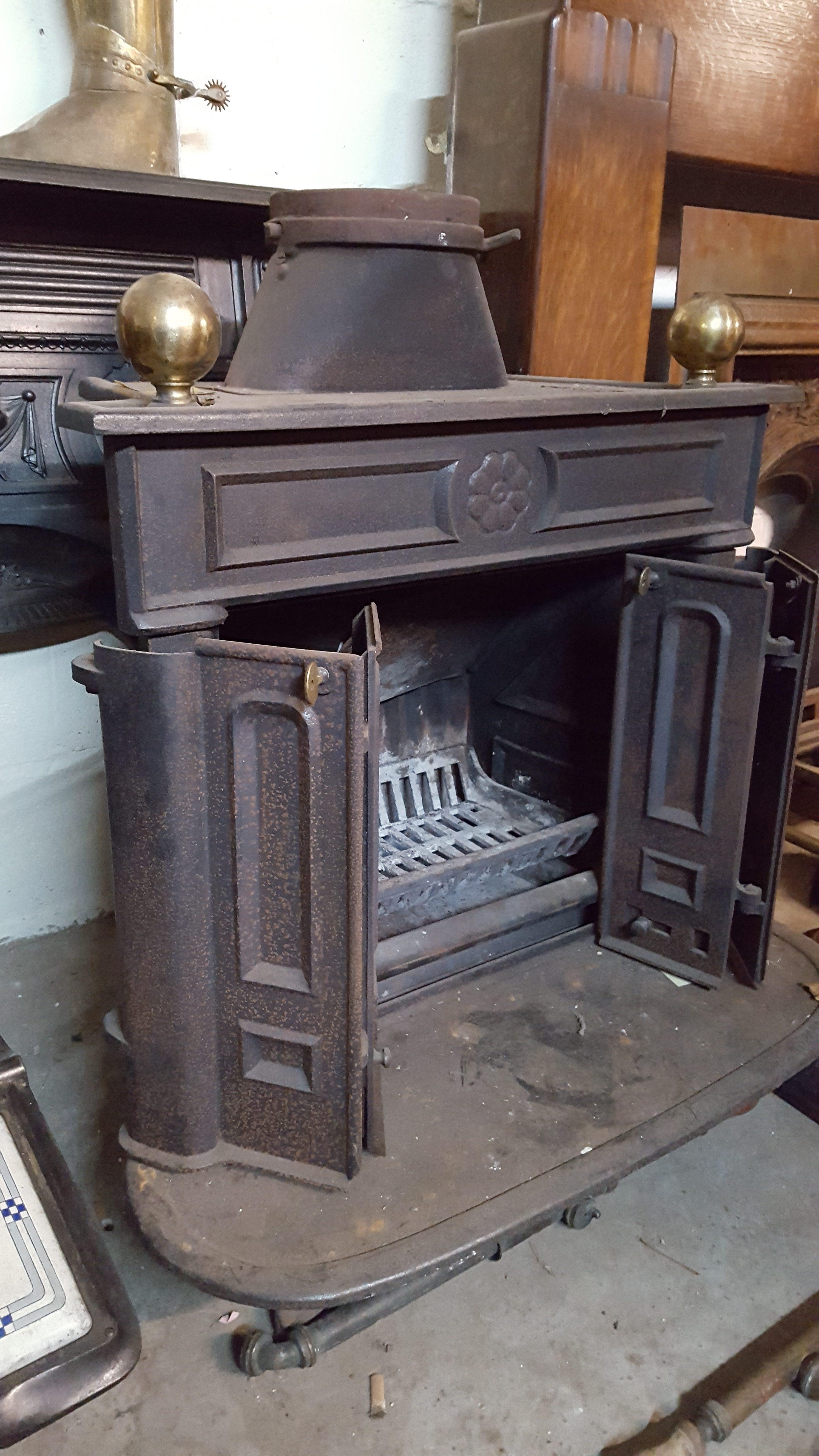 black cast iron log burner fire with brass knobs a and d. Black Bedroom Furniture Sets. Home Design Ideas