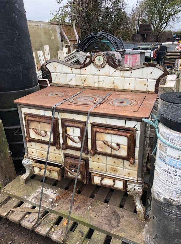 Antique European Ceramic Tiled Stove Oven A And D Reclaim